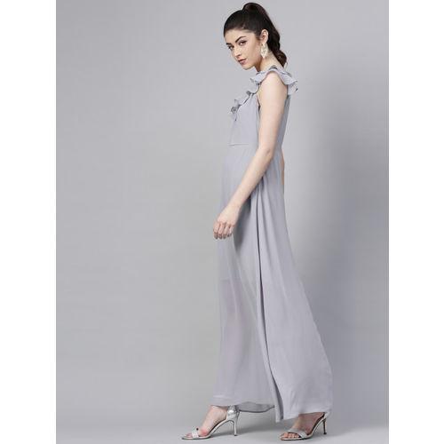 SASSAFRAS Women Grey Solid Maxi Dress