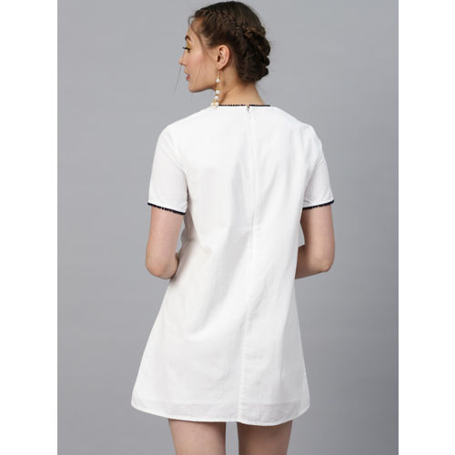 SASSAFRAS Women White & Navy Blue Embroidered Detail A-Line Dress
