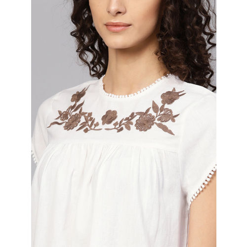 SASSAFRAS Women White Solid A-Line Dress