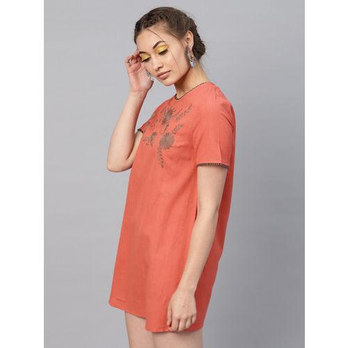 SASSAFRAS Women Orange Solid A-Line Dress