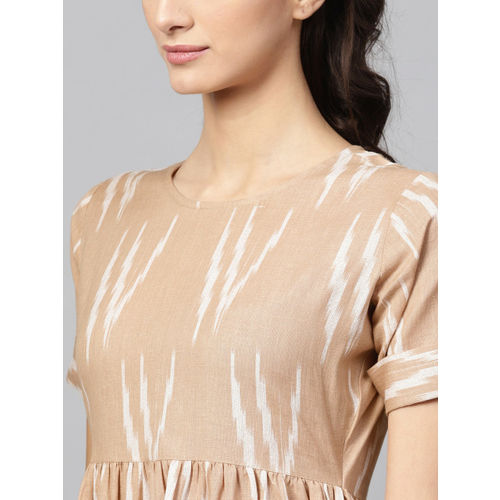 SASSAFRAS Women Beige & White Printed Midi Empire Dress