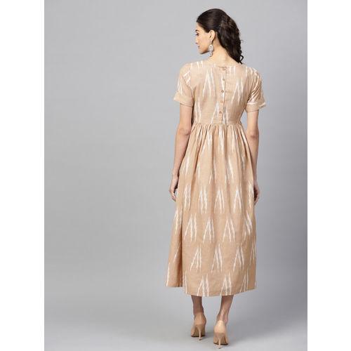 SASSAFRAS Women Beige & White Printed Midi Empire Dress