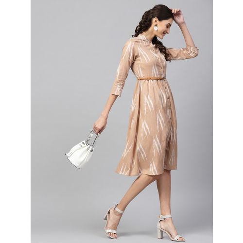 SASSAFRAS Women Beige & White Ikat Patterned A-Line Dress