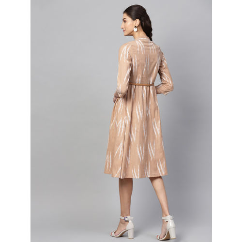 SASSAFRAS Women Beige & White Ikat Patterned A-Line Dress