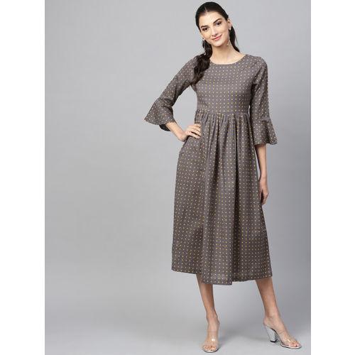 SASSAFRAS Women Grey & Yellow Printed A-Line Dress
