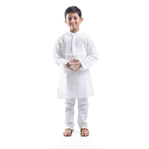 Nilay Business House White Boys Chickan Kurta and Pyjama