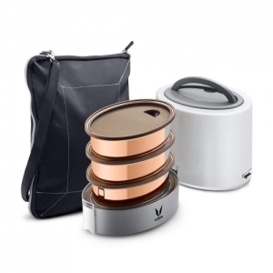 Vaya Tyffyn Grey Copper-Finished Stainless Steel Lunch Box with Bagmat, 1000 ml, 3 Containers
