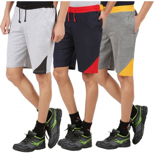 Checkersbay Casual Solid Cotton Blend Short (Pack of 3)