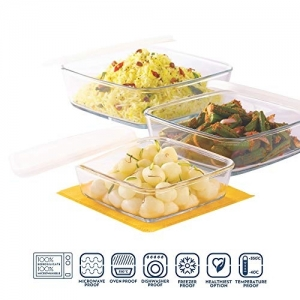 Borosil Square Dish with Lid and Storage Set, 3-Pieces Set-500 ml +800ml +1.6 l