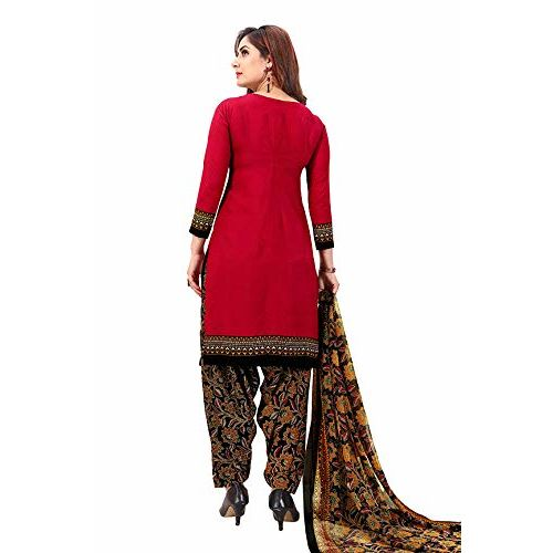 Rajnandini Red Crepe Patiala Unstitched Printed Dress Material