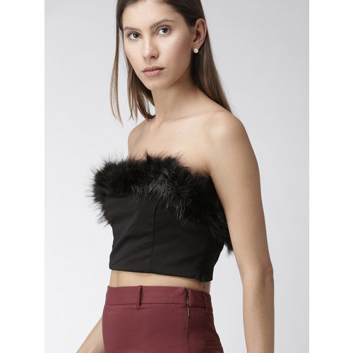 FOREVER 21 Women Black Solid Tube Top With Faux Fur Detail