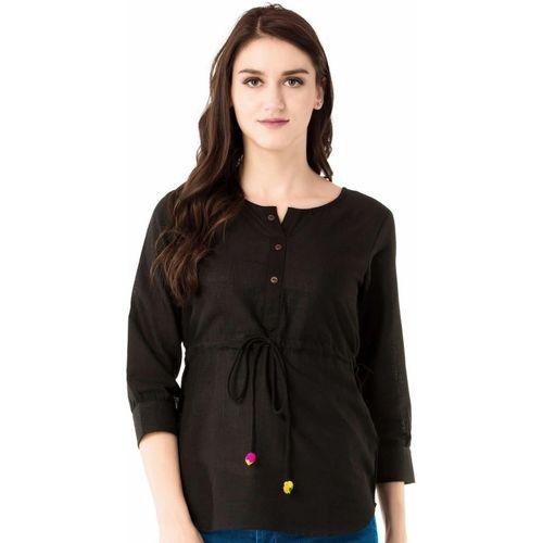 Anuttara Fashions Casual 3/4 Sleeve Solid Women Black Top