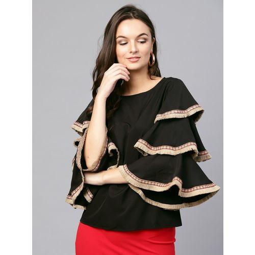Sassafras Casual Bell Sleeve Solid Women Black Top