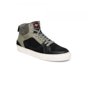 more photos e3c7c f1f88 Lee Cooper Men Black   Grey Colourblocked Suede Mid-Top Sneakers