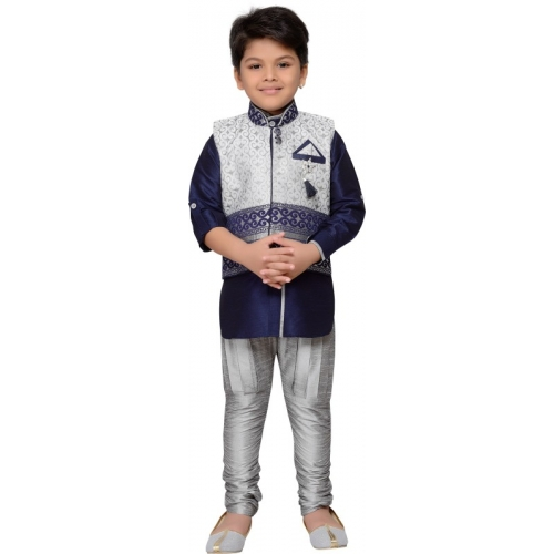 AJ Dezines Boys Festive & Party Kurta, Waistcoat and Breeches Set