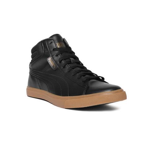 Puma Men Black Solid Synthetic Mid-Top Sneakers