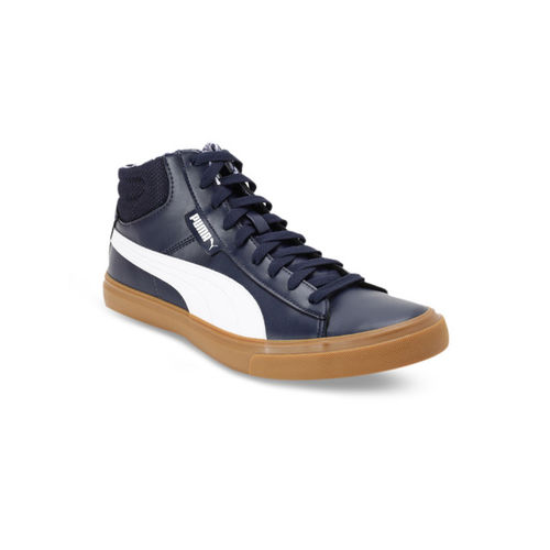Puma Men Navy Blue & White Colourblocked Leather Grip Mid IDP Mid-Top Sneakers