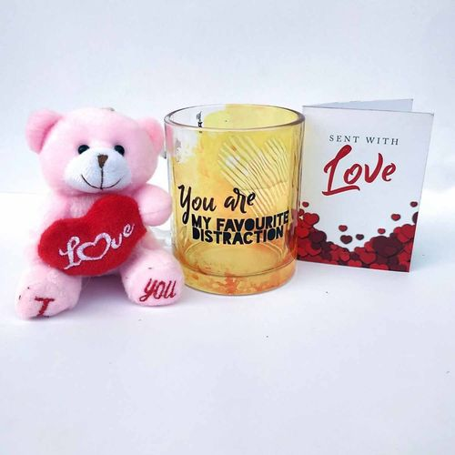 Hot Muggs You are My Favorite Distraction Valentine with Teddy and Card Glass Mug(350 ml)