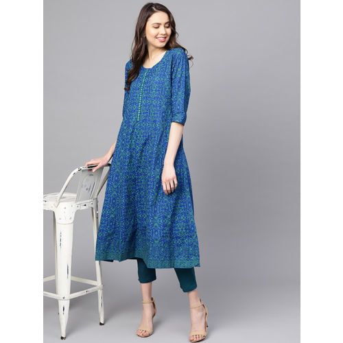 ZOEYAMS Women Blue & Green Block Print A-Line Kurta