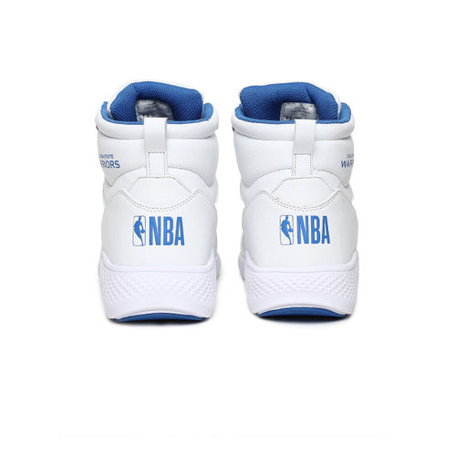 NBA Men White Solid Golden State Warriors Mid-Top Sneakers