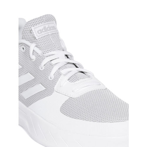 ADIDAS Men White Solid Textile Mid-Top Sneakers