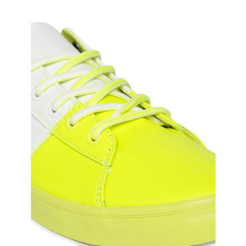 United Colors of Benetton Men White & Neon Yellow Colourblocked Sneakers