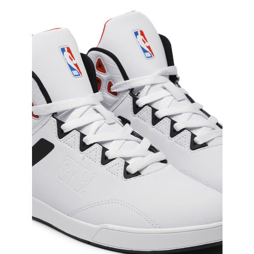 NBA Men White Solid Chicago Bulls Mid-Top Sneakers