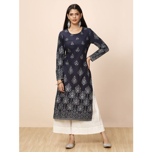 all about you Women Navy Blue Printed Straight Kurta