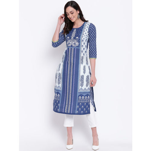 Biba Women Navy Blue & White Printed Straight Kurta