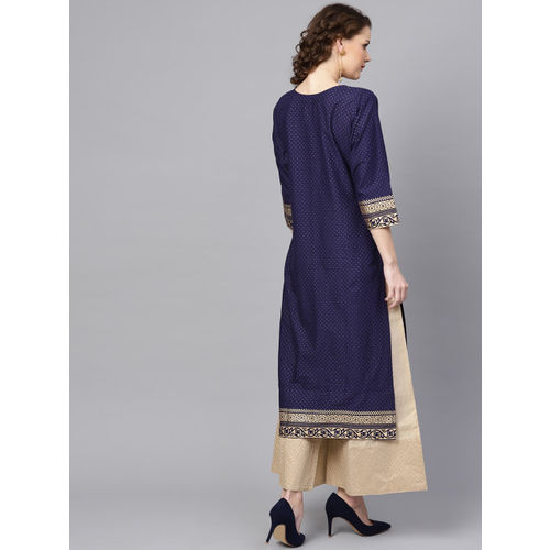 ZOEYAMS Women Navy Blue & Golden Block Print Straight Kurta