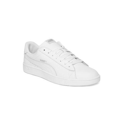 Puma Men Court Breaker Derby White Leather Sneakers
