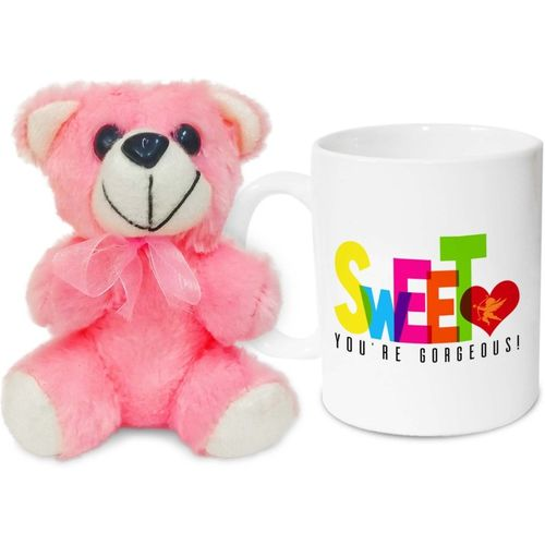 Hot Muggs Sweetheart, you're gorgeous! Valentine with Teddy Ceramic Mug(350 ml)