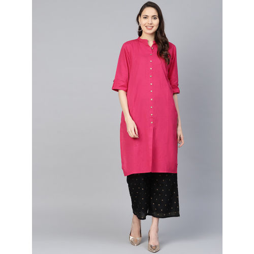 Shree Women Pink Solid Straight Kurta