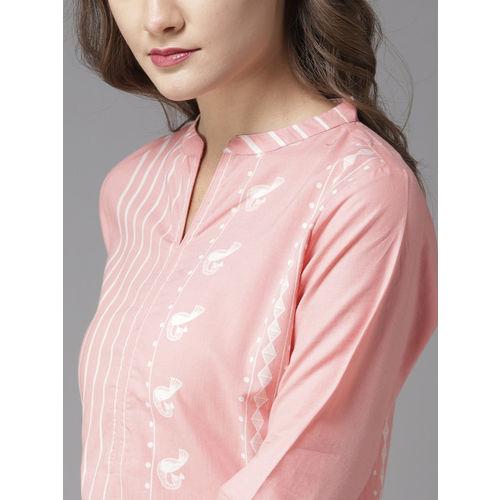 Moda Rapido Women Pink Striped Straight Kurta
