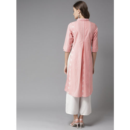 Moda Rapido Women Pink & White Striped Straight Kurta
