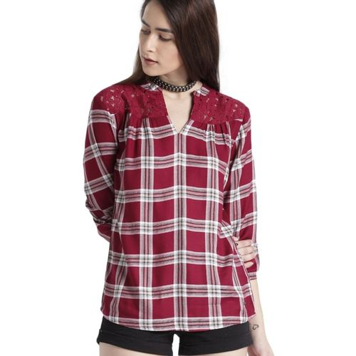 Roadster Casual 3/4 Sleeve Checkered Women Maroon, White Top