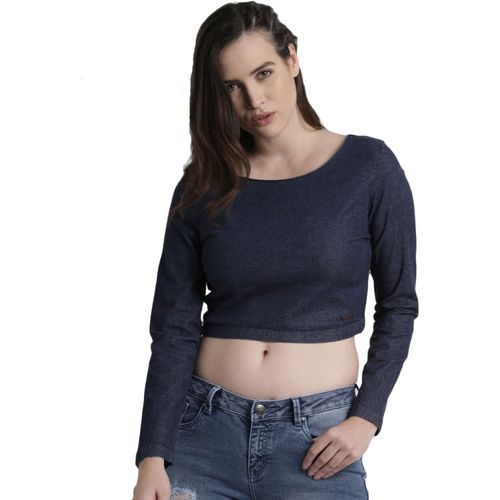 Roadster Casual Full Sleeve Solid Women Blue Top
