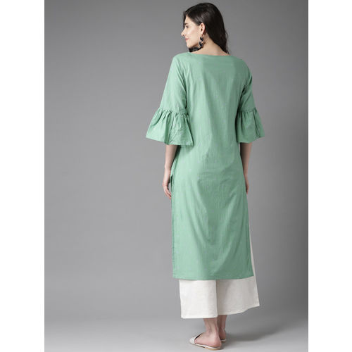 HERE&NOW Women Green & White Printed Straight Kurta