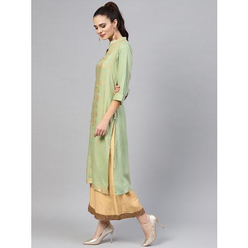 Shree Women Green & Gold-Toned Printed Straight Kurta