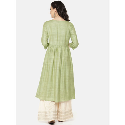Melange by Lifestyle Women Green Embroidered A-Line Kurta