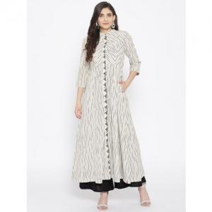 Biba White Cotton Striped A-Line Kurta