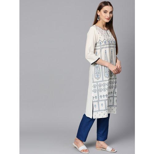 Shree Women White & Blue Printed Straight Kurta