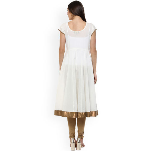 MBE Women Off-White & Beige Printed Anarkali Kurta