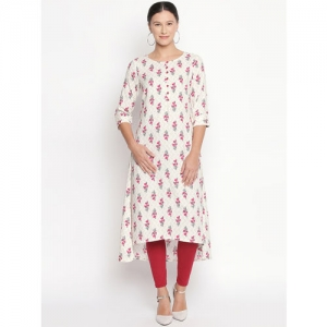 RANGMANCH BY PANTALOONS Women Off-White & Pink Printed A-Line Kurta