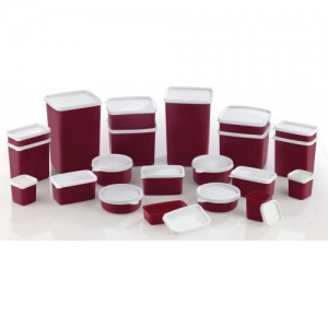 Mastercook White & Maroon Pack of 21 Grocery Container