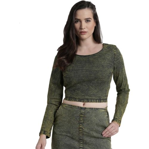Roadster Casual Full Sleeve Solid Women Green Top