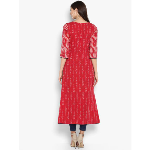 Janasya Women Red Printed A-Line Kurta