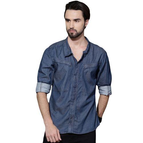 Roadster Men Solid Casual Blue Shirt