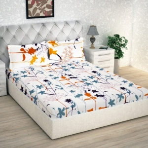 Story@Home 186 TC White Cotton Double Floral Bedsheet(Pack of 1)
