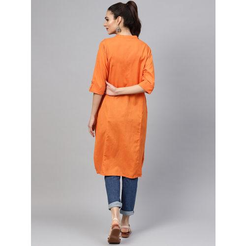 Shree Women Orange Solid Straight Kurta